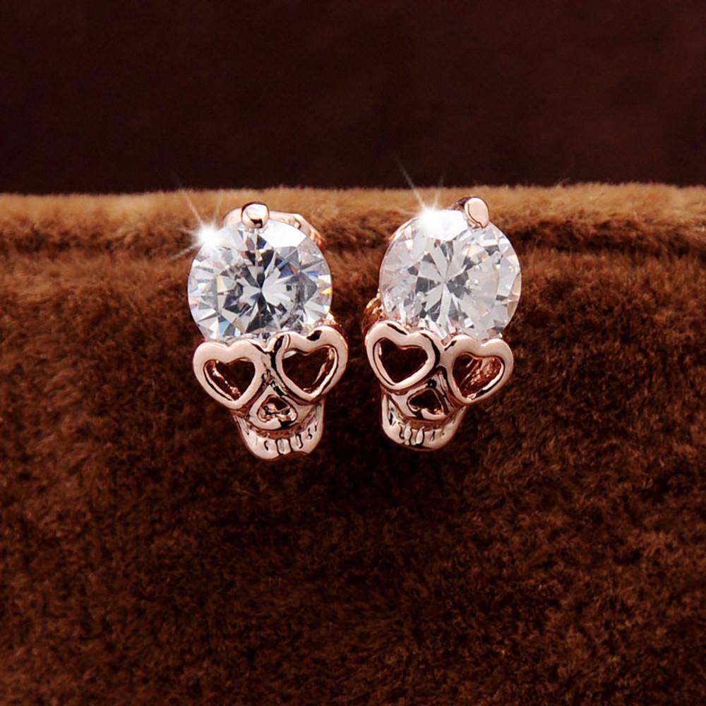Sparkly Skull Earrings Biker Fashion