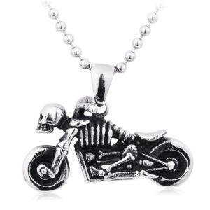 skeleton biker necklace fashion