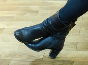 Leather boots women's biker fashion