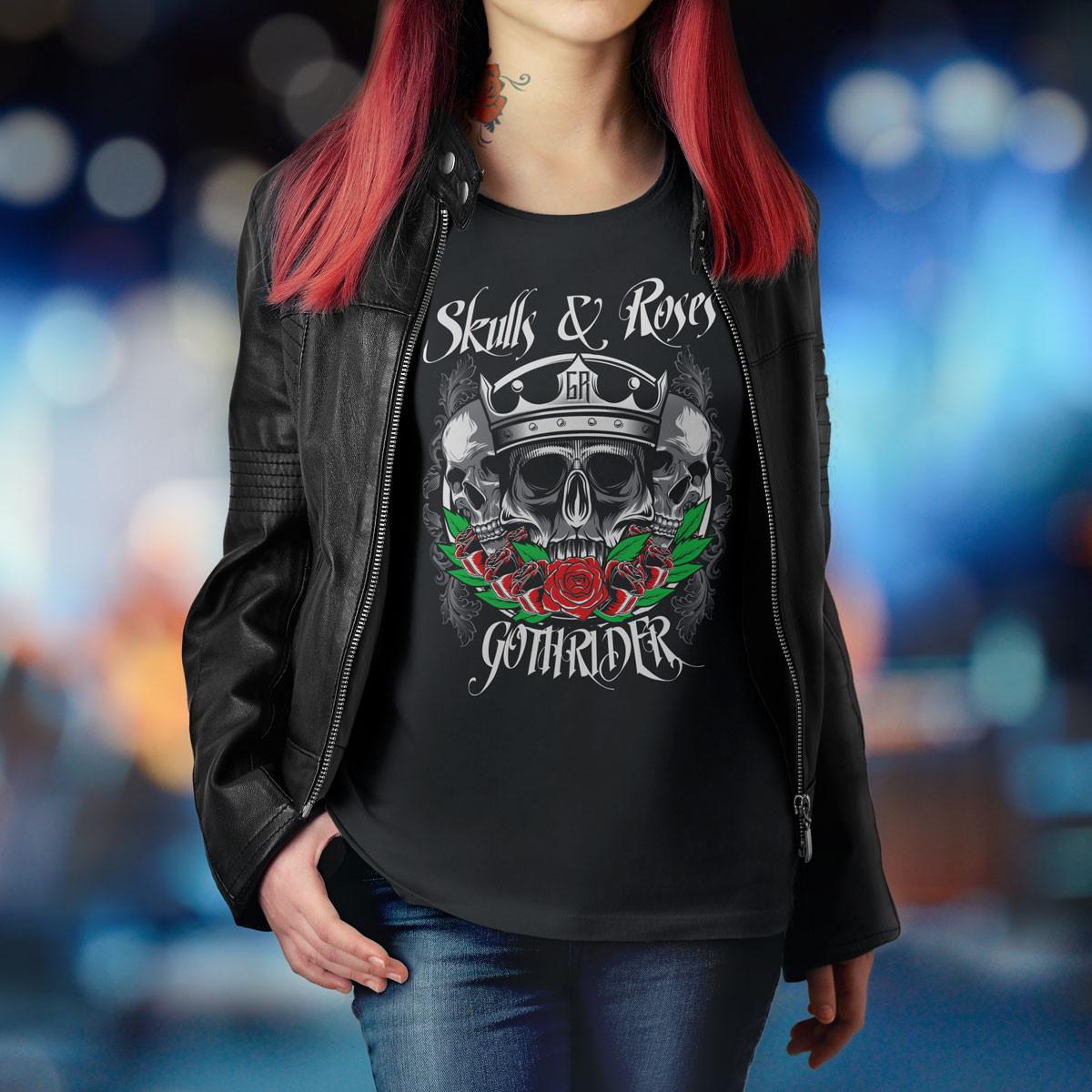 skulls and roses biker fashion women's tee