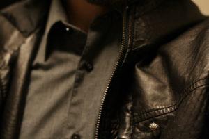 costume, leather jacket